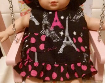 Bitty Baby or any 14-16 inch Doll Dress, Hat and Bloomers