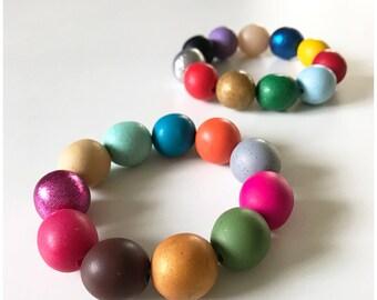 Gumball bracelets - handmade polymer clay beads on double strength elastic cord
