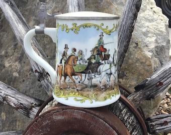 Hand Painted Kaiser Stein, Lidded German Beer Stein