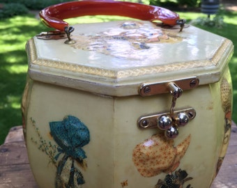 Vintage Holly Hobbie Wood Purse with Bakelite Handle Collectable Handbag