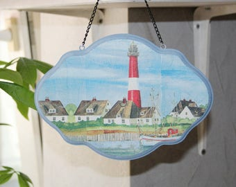 Wooden sign, lighthouse, maritime, with chain, sign with chain