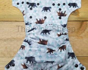 Geometric Bears OS Cloth Diaper