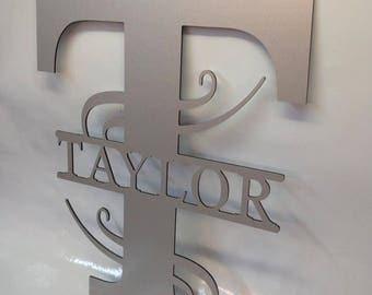 Metal Sign / Last Name Sign / Door Hanger / Front door sign / personalized sign / house sign / monogrammed sign / aluminum sign / fence sign