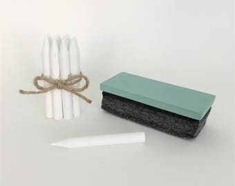 Chalkboard Eraser   Chalkboard Accessory Gift Set   Custom Colour Mini Chalkboard Eraser & White Sharpened Chalk (10pk)