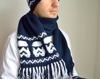 Hand knitted unisex ''Star wars'' hat, arm warmers & snood scarf  set