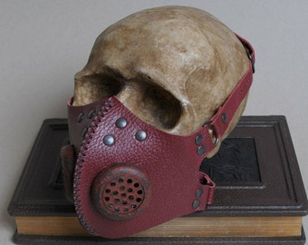 Red Post Apocalyptic Leather Respirator Mask Postapocalyptic Gas Mask Mad Max Men Fallout Cosplay Roleplay Gasmask Men Women Professor Cyber