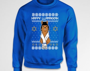 Ugly Hanukkah Sweater Funny Gifts For Hanukkah Jumper Jewish Clothing Holiday Pullover Chanukah Happy Llamakkah Crewneck Hoodie TEP-606