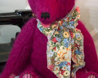 "Fuchsia Jack, 17"" OOAK Artist Teddy Bear from Mohair Jacket by Patricia Bruce"