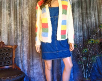 Vintage 1960s Color Block Mohair Sweater / 50s/60s Hand Knit Mohair Cardigan M