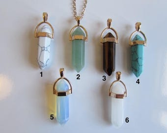 Crystal Point Healing Crystal Choker Necklace Gold Tone Rose Quartz Aventurine Turquoise Opalite Unisex Free UK Shipping + Gift Bag GT1