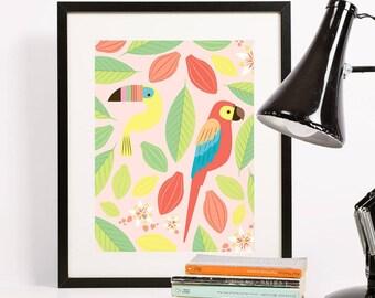Tropical Birds Art Print 8x10 | Folk and Fauna Co.