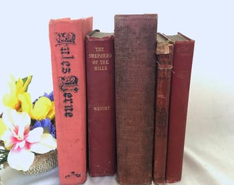 Set of 5 Red Pink Burgundy Old Books for Decor, Book Gift, Vintage Library, Instant Library, Antique Collection, Vintage Book Themed Wedding