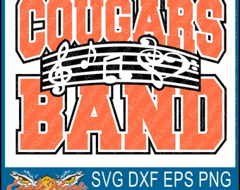 Cougars Band| Music Notes| SVG| DXF| EPS| Png| Cut File| Cougars| Band| Mom| Dad| Vector| Silhouette| Cricut| Digital Download