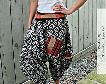 Japanese Sashiko Waves (BLACK) Waist-Tied Samurai Pants