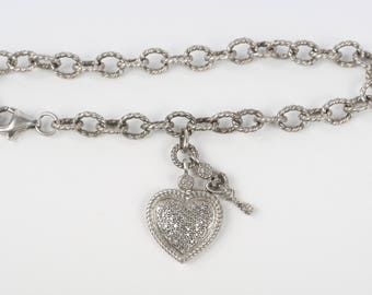 "1980's-90's Sterling 1mm Swarovski Crystal Pave Heart, Key Charm Twisted Rope Bracelet, Near MINT Cond., 7-1/2"" Long, Beyond Adorable"