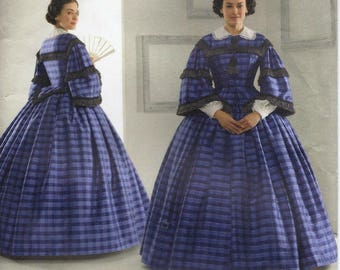 Civil War era historical dress pattern with bodice, skirt and bustle in Misses' sizes 16-24 Simplicity 3727 UNCUT & FF (2007)  K0975