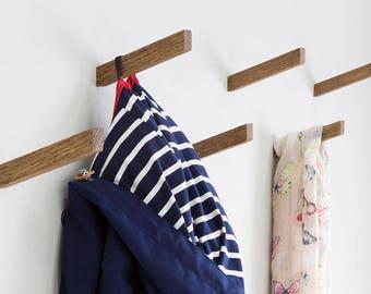 Dark Solid Oak Coat Hooks   Inclined Angle   Coat Hook   Wall Hooks   Universal Wall Hook ***New Product***