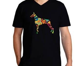 Psychedelic Doberman Pinscher V-Neck T-Shirt
