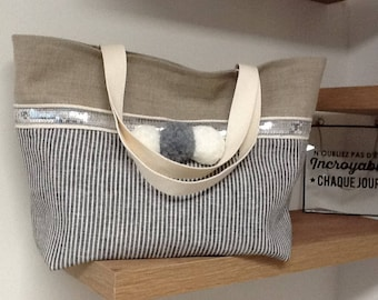 Linen tote, with silver sequins and wool pompoms,  inside pocket, made in France/linen tote summer 2018/linen tote customizable/ XL bag