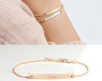 Custom Name Bracelet Engraved Bracelet sister Bracelet Custom Coordinates Bracelets Mother gift mom - 2BR