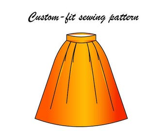 Handmade custom-fit Bell shaped skirt sewing pattern/ skirt pattern made-to-fit/ skirt paper pattern