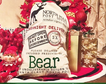 Santa Sack, Santa, Personalized Santa Sack, Blank Santa Sack,  Santa Claus Sack, Christmas Tote, Holiday Sacks, Holiday Bags, Christmas Gift