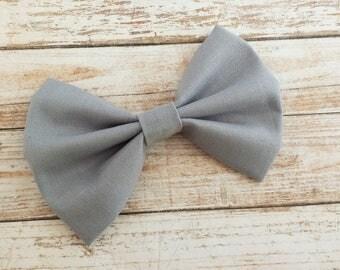 Gray Fabric Hair Bow Clip or Headband / Gray Fabric Hair Bow / Gray Bow Clip / Silver Gray Bow / Solid Gray Bow / Solid Gray Hair Bow Clip