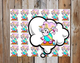 Sophie Workout | Unicorn Planner Character Stickers | Workout, Exercise  Planner Stickers