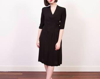 Vintage 1940s Black Rayon Crepe Dress / Pintucked Bodice / 1940s Little Black Dress / XS/S