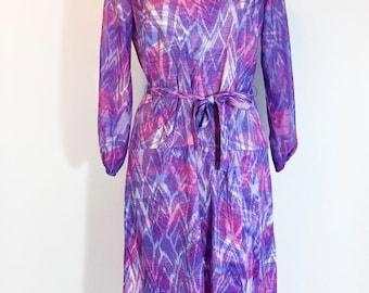 Vintage Dress Purple Dress Pink Dress Purple Pink Blue Dress Polyester Dress Bright Dress 1960s Dress