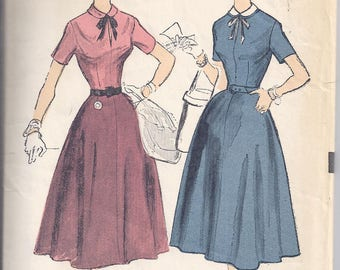 Advance Pattern # 6535 from 1953. Sew-Easy Junior Dress:  Fitted Bodice, Four gore skirt.  Bust 29
