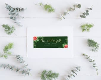Holiday Return Address Labels, Christmas Theme Address Labels, Gingham Address Labels, Custom Return Address Labels, Return Address Labels,