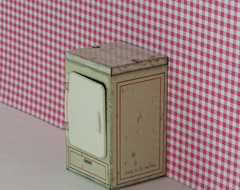 Doll house vintage metal refrigerator 1950s furniture white
