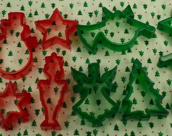 Vintage 12 Pc. Transparent Red And Green Christmas Cookie Cutters