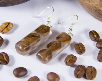 Real Coffee Beans Earrings Epoxy Resin Nature Jewelry Barista Coffee Lover Сappuccino Time for Coffee Bijoux Girlfriend Gift