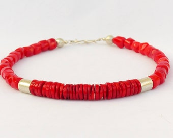 Necklace, red bamboo coral, genuine silver plated beads, large, opulent