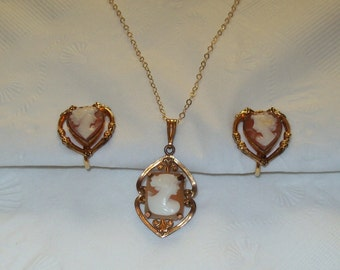 12K Gold Filled Cameo Earrings and Pendant Set