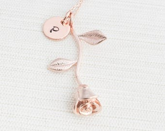 Rose Gold Initial and Rose Charm Necklace, Disc Necklace,Rose Necklace , Personalised Jewellery, Rose Gold Plated Necklace, Gift idea