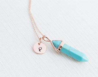 Rose Gold Initial and Turquoise Gemstone Necklace, Disc Necklace, Personalised Jewellery, Rose Gold Necklace, Gift idea