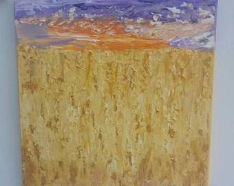 Sunset Cornfield, Original Acrylic on 30cm x 30cm Canvas, unique affordable art