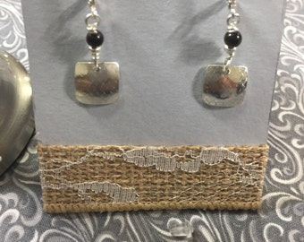 Square textured sterling silver earrings with tiger eye