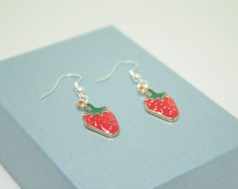 Strawberry Fruit Earrings, Fruit Jewellery, Fruit Earrings, Cute Earrings, Red Earrings