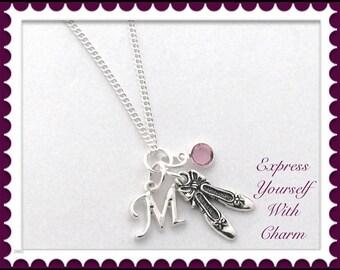 Ballet Dance Shoe Necklace, Ballet Dance Shoe Charm Necklace, Ballet Dance Shoe Gifts, Women's Silver Personalized Birthstone Necklace