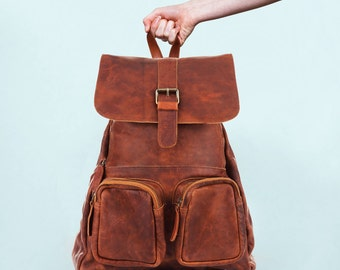 Leather Backpack Rucksack Womens in Vintage Brown by MAHI Leather
