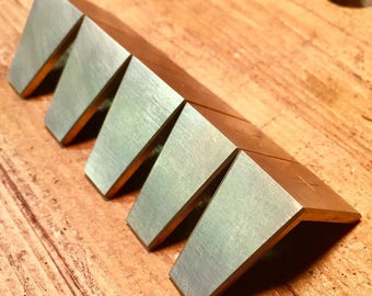 Brass Dovetail Layout Markers/Saddles, Set of 5, Handmade in Ohio