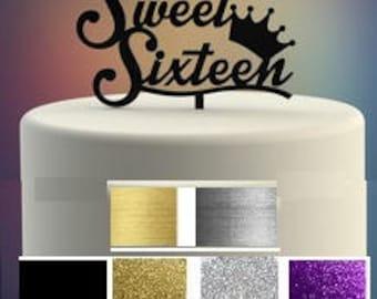 Sweet Sixteen Cake Topper Happy Birthday Many Colors