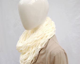 Chunky cowl scarf, cream cowl, ladies scarf, knit cowl, infinity scarf cowl, stocking filler