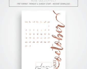 2017 - 2018  Printable Wall calendar, A3 Calendar, Rose gold effect, Minimal calendar, Instant download, Printable wall planner