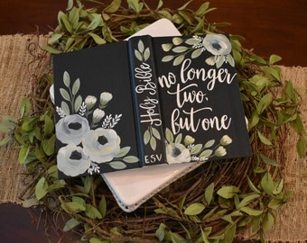 Guest Book   Wedding Decor   Hand Painted Personalized Bible   Custom Colors Available