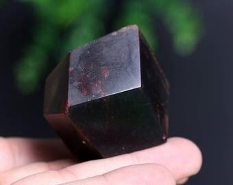 Almandine Garnet Smooth Polished Crystal Mineral Specimen, Red Garnet Gemstone Large Crystal J886